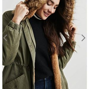 NWT Lucky Brand Faux Fur Hooded Over Coat Parka